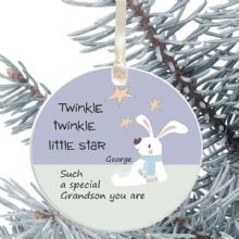 Ceramic Grandson Keepsake Christmas Decoration - Twinkle Star Design